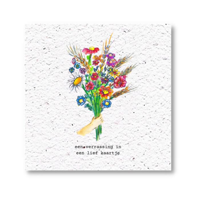 bloemenkaart met zaadjes