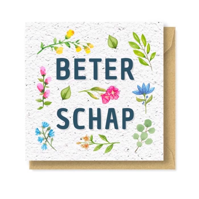 wenskaart beterschap bloeipapier